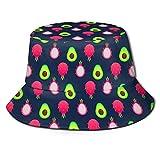 Lawenp Fruta del dragón Fruta de Aguacate Lindo Sombrero de Cubo con Estampado Unisex Sombreros de Pescador Sombrero de Pesca Verano Gorra Plegable Reversible Mujeres Hombres Sombrero para el Sol al