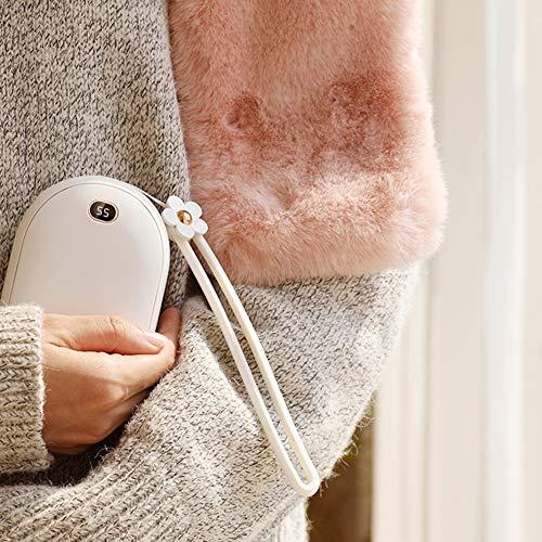 CSPFAIQL Multifonctionnel Chauffe-Mains Rechargeable USB Chaufferette Main 10000mAh Power Bank Portable Électrique Poche Réchauffeur de Mains Cadeaux pour Enfant/Femmes en Hiver,B-White