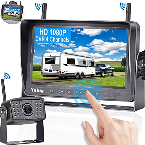 RV Backup Camera Wireless HD 1080P with 7 Inch Touch Key DVR Monitor for RVs,Campers,Trailers,Trucks...