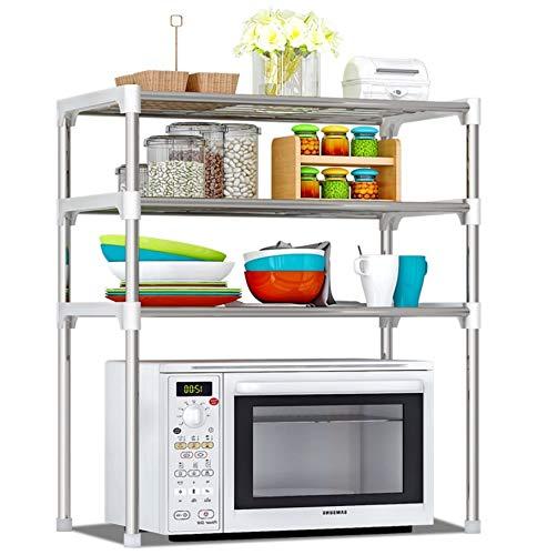 Bayli Mikrowellenregal mit 3 Ebenen | Halter für Mikrowelle | Küchenregal | Tischorganizer [57 x 30 x 65 cm] | Mini Backofen Halterung | Küchengeräte Regal für kleine Küche, Arbeitsplatte | Standregal