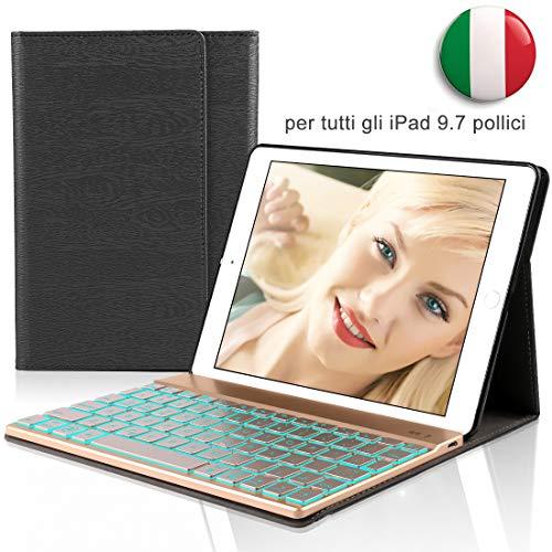 iPad 9.7 Italiano Tastiera Custodia, Dingrich iPad 9.7 2018/2017 iPad Pro 9.7 iPad Air 2/1 Bluetooth Wireless Retroilluminata Tastiera Case