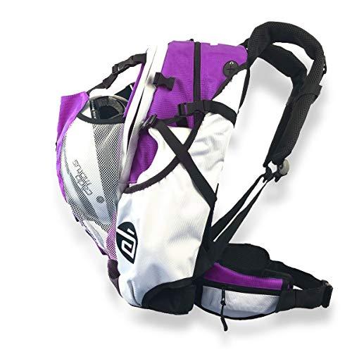CADOMOTUS Airflow Sportrucksack 30+15L - Fahrrad Rucksack - MTB Rucksack - Inline Skater Rucksack Erwachsene - Ultraleicht und mit Rückenbelüftung, Helmfach und Schuhfach - Lila