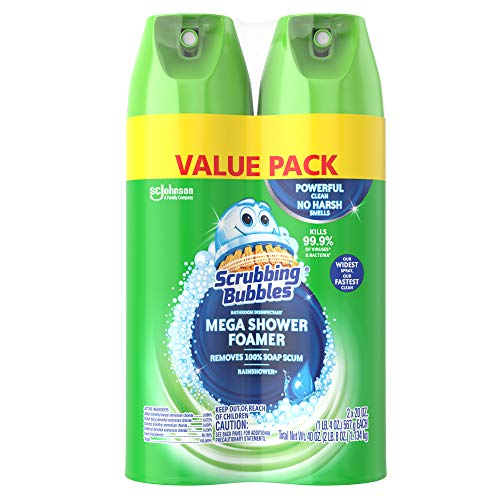Scrubbing Bubbles Mega Shower Foamer and Disinfectant Aerosol, 20 Oz, Pack of 2 (total 40 oz)