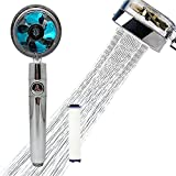 2021 Upgrade Propeller Driven Handheld Shower Head High Pressure - 360° Power Shower Head Rotating Water Saving Shower, Premium Turbocharged Kit Excellent Replacement for Bath Shower Head (Blue)