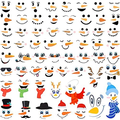 60 Piezas Pegatinas de Cara de Muñeco de Nieve Calcomanís de Cara de Muñeco de Nieve Pegatinas de Cristal Ventana Refrigerador de Navidad Calcomanía Decoración Encantadora de Arte de Pared