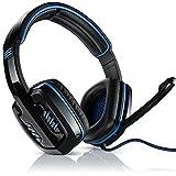 CSL - 7.1 USB Gaming Headset inkl. externer Soundkarte - Virtual 7.1 Surround Sound - PC Gamingheadset - Kabelfernbedienung Externe Soundkarte - Farbe schwarz blau