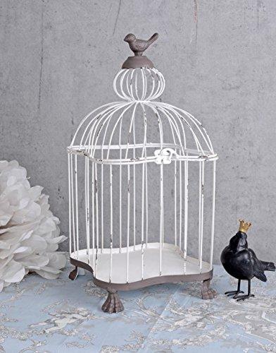 Vogelkäfig Shabby Chic Dekokäfig Metallkäfig Blumen Käfig Weiss Garten Palazzo Exclusiv