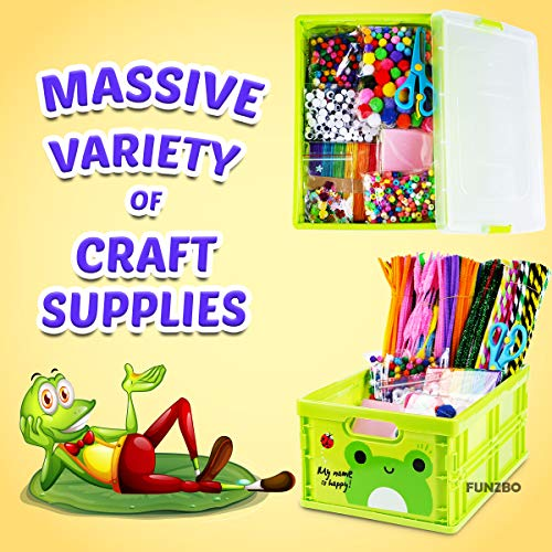 FunzBo Arts and Crafts Supplies Kit for Kids - Craft Art Supply Kit for Toddlers Age 4 5 6 7 8 9 - All in One D.I.Y. Crafting Collage Arts Set for Kids (Mega)