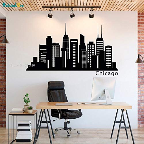Tianpengyuanshuai Büro Wandtattoo Chicago Skyline Wandtattoo Stadt Silhouette Vinyl Aufkleber 40x69cm