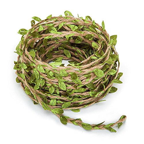 Zhiheng 20m Artificial Leaf Vine Rustic Jute Twine Vintage Jungle Garland Foliage Rattan Green Leaves Ribbon Wrapping Wedding Home Garden Decoration Craft Supplies