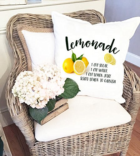 Citroen decoratieve kussensloop, limonade recept kussensloop, fruit kussensloop, zomer kussensloop, kussensloop, katoenen linnen kussensloop, 26x26 inch