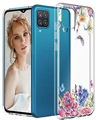 Compatible con Samsung Galaxy A12 5G, funda transparente con diseño de mármol y flores, funda de silicona 5G, antigolpes, antiarañazos, funda transparente