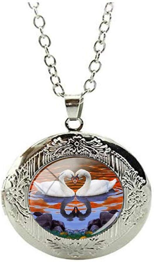 Beautiful Animal Swan Lovers Locket Necklace Glass Art Photo Jewelry Birthday Festival Gift Beautiful Gift