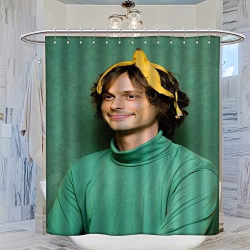 DRAGON VINES Ma-tthew Gr-ay Gub-ler Banana Duschvorhang, 183 x 183 cm (72 x 72 Zoll) Wasserdichter Badvorhang mit 12 Kunststoffhaken Waschbar Badvorhang