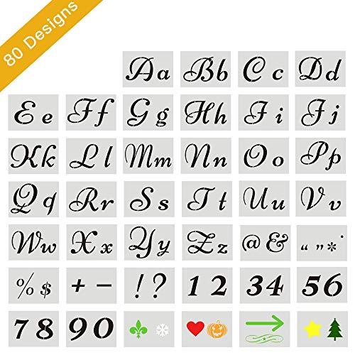Outivity 40 Stück Buchstaben Schablone Kunst Alphabet Schablonen Buchstaben Für Gemälde Auf Holz, Groß Zahlen Und Zeichen Großbuchstaben Kleinbuchstaben Buchstaben Kunststoff Wiederverwendbar