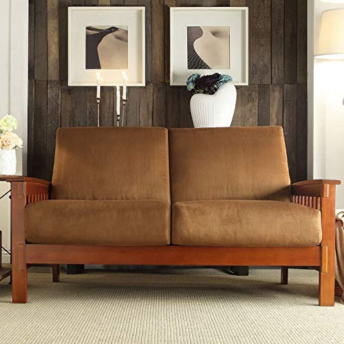 Inspire Q Classic Hills Mission-Style Oak Loveseat by Rust