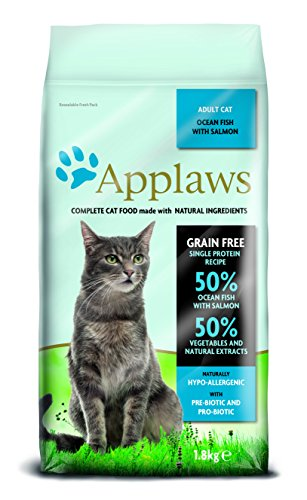 Applaws kat droog voedsel zeevis met zalm, per stuk verpakt (1 x 1,8 kg)