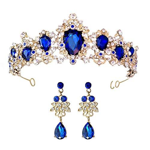 FRCOLOR Tiaras de Novia de Diamantes de Imitación Azules para Mujeres con...