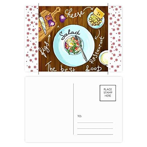 Salade Kaas Vijgen Frankrijk Restaurant Kerstmis Bloem Postkaart Thanks Card Mailing 20 stks