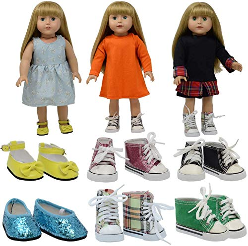 The New York Doll Collection 6 Paar Puppenschuhe und Sportschuhe (Turnschuhe) - Passend für 18 Zoll/46 cm Puppen - (Stil 1) Puppenschuhe - PuppenSportschuhe - Puppenzubehör