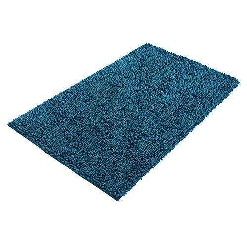 PANA® Bologna Mikrofaser Chenille Bad-Teppich I Badematte I Badvorleger I 60 cm x 100 cm I Farbe Petrol I Rutschfester Rückseite I Ökotex Zertifiziert