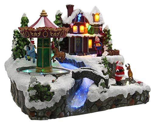 LED Winterdorf mit drehendem Element, Weihnachtsdeko mit bunter Beleuchtung, detailgetreu gefertigt, Bachlauf mit Farbwechsel (Karussell)