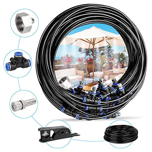 Deyard Kit d'irrigation Goutte à Patio Misting Micro Flow Drip Kit with 32.8FT(10M) Jardin Brumisation Refroidissement Système d'arrosage Distribution pour Trampoline de Serre pour Waterpark
