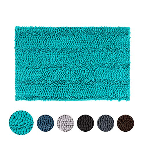 TOMORO Non-Slip Chenille Bathroom Rugs - Extra Absorbent and Soft Thick Plush Striped Microfiber Bath Mat, Machine Washable Bathroom Carpet with Non-Skid Backing, 20 x 32 Inch, Turquoise