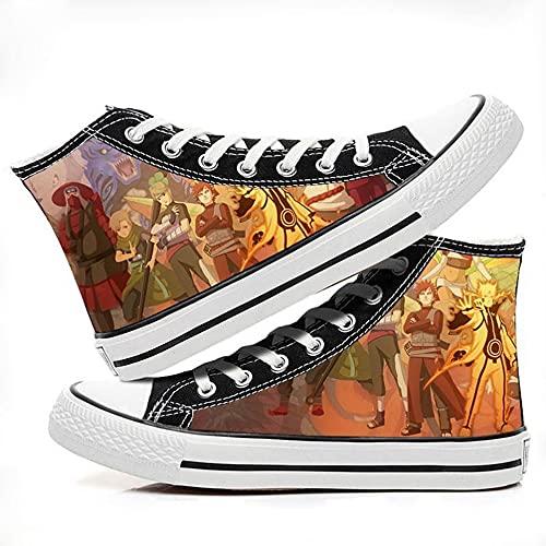 ZYAAO Sneakers Hombre Zapatillas Lona Zapatos Casuales Zapatos Mujer Zapatos Adolescente Zapatillas Deporte Mujer Unisex 3D Anime Shoes Zapatos Skate Naruto/Sharingan/Akatsuki/Haikyuu, 38
