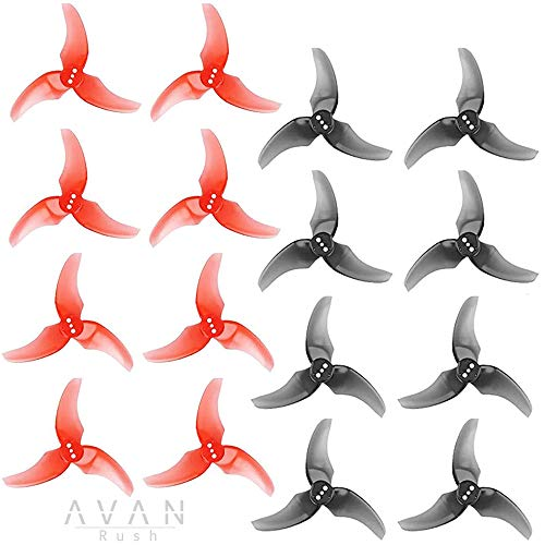 16pcs EMAX Avan Rush Propeller 2.5 Inch 3 Blade Props for Tinyhawk 2 Freestyle RC MultiRotor Micro FPV Racing Drone(Red and Black)