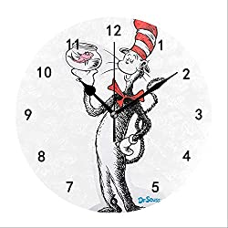 Miaoquhe Wall Clock,9.5-Inch The Cat in The Hat Decorative Round Retro Silent Wall Clocks Non-Ticking for Kitchen Living Room Bedroom Wall Decor