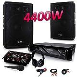 PACK SONO 4400W DJ PA Set BAR CLUB DISCO15B + Ampli AX2000 MyDj + Table de Mixage USB MP3 + Micro Casque Câbles