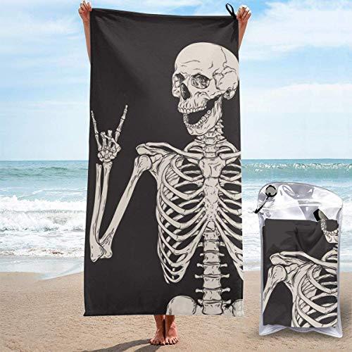 Bathroom Towels Shower Towels Toallas de playa ligeras, esqueleto de calavera Rock and Roll Beach Towels 140 X 70