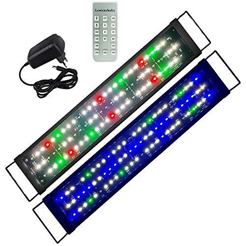 Boomersun Aquarium Beleuchtung LED Lampe Mondlicht dimmbar 9 Modi Aufsetzleuchte mit Zeitsteuerung Fisch Tank SMD5730 LED Wasserpflanzen Aquariumleuchte 60-80cm