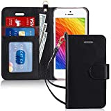 FYY Case for iPhone SE/iPhone 5S/iPhone 5, [Kickstand Feature] Luxury PU Leather Wallet Case Flip Folio Cover with [Card Slots][Wrist Strap] for iPhone SE/iPhone 5S/iPhone 5-Black