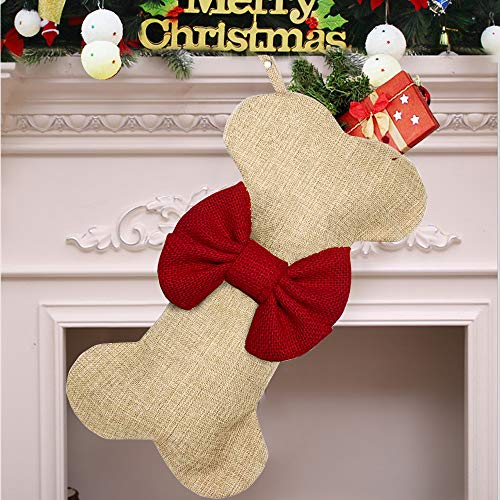 Yodofol Dog Christmas Stockings Large Pets Bone Shaped Bow Burlap Hanging Christmas Stockings for Dogs Christmas Decorations Red  1 Pack