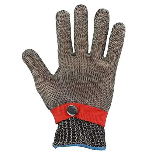 Schnittfeste Handschuhe-XHZ 1 Schneidbeinausschlag aus Edelstahl, Stahldrahtschnittbein und Schlacht- und Schneidschutzhandschuhe (Size : Large)