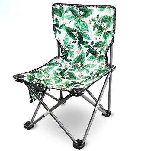 Silla al Aire Libre Camping portátil Picnic Plegable Silla Plegable Ultraligero Pesca Nuevo Verde Flesh Leaf Flower Silla, Verde Claro