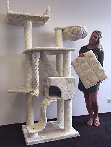 kratzbaum Grosse Katzen stabil XXL Kilimandjaro de Luxe Beige katzenkratzbaum für Maine Coon große katzenbaum schwere Katze kletterbaum kratzmöbel Dicker stamm