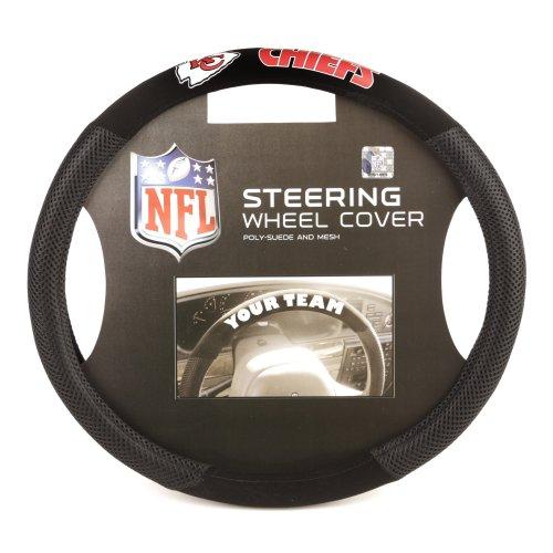 Fremont Die NFL Kansas City Chiefs Poly-Suede Steering Wheel Cover, Fits Most Standard Size Steering Wheels, Black/Team Colors