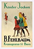 B Fehlbaum - Kinder Jacken Vintage Poster (artist: Cardinaux, Emil) Switzerland c. 1919 (24x36 Giclee Art Print, Gallery Framed, White Wood)
