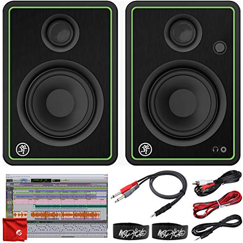Mackie CR4-X 4-Inch Creative Reference Multimedia Monitors Bundle with Pro Tools First DAW Music Editing Software, 2x Cable Ties, Dual 1/4 Stereo to 3.5mm Cable, Microfiber Cloth