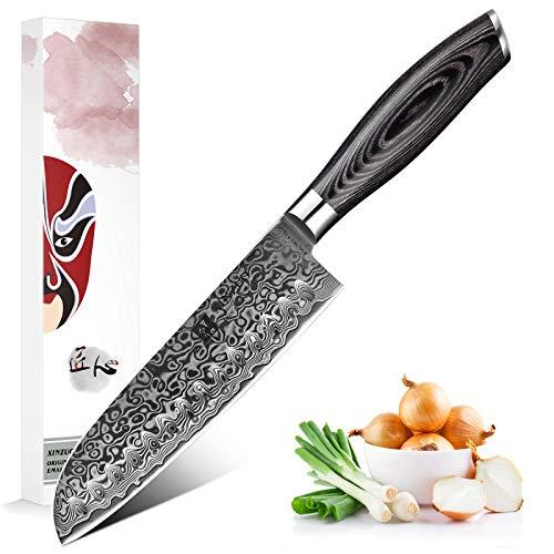 XINZUO Santokumesser Küchenmesser 17.8cm Damast Kochmesser 67 Schichten Damastmesser Messer mit Pakkawood Griff - Ya Serie