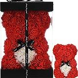 Oso Rosa Mujer Regalos para mamá Regalos para Mama Novia Regalos de cumpleaños Aniversario Ideas Regalos para Ella Oso de Peluche Rosa Flores Rosas Oso Rosas Artificiales (Rojo)