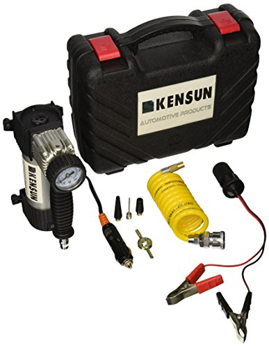 Kensun Portable Travel Heavy Duty Multi-Use Air Pump Compressor/Inflator Kit with Hard Carry-Case