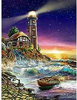 """5Dダイヤモンド絵画、夜空の海の灯台-子供のための大人のダイヤモンド絵画アートキット、フルドリルラウンドクリスタルクロスステッチ工芸品家の壁の装飾16""""×20"""""""