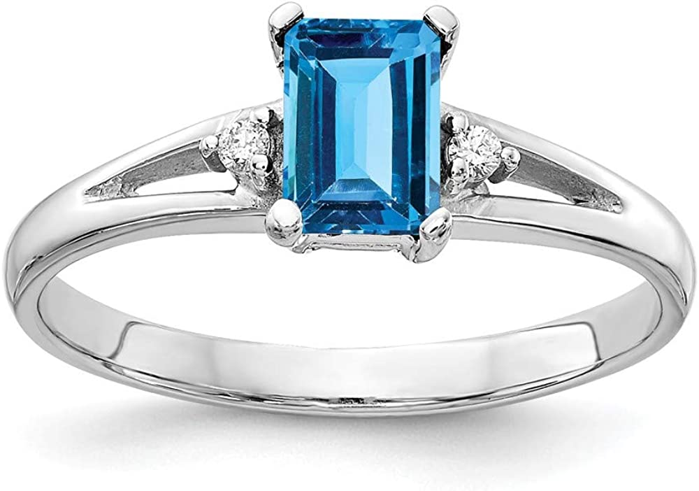 Solid 14k White Gold 6x4mm Emerald Cut Blue Topaz Diamond Engagement Ring (.024 cttw.)