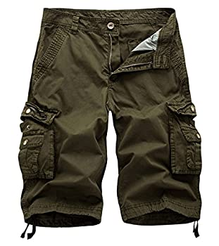 AOYOG Mens Solid MultiPocket Cargo Shorts Casual Slim Fit Cotton Solid Camo Shorts Army Green 082 Lable size 32 US 31