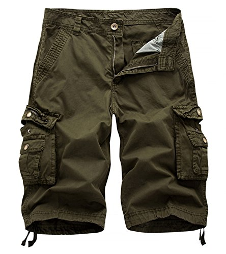 AOYOG Mens Solid MultiPocket Cargo Shorts Casual Slim Fit Cotton Solid Camo Shorts, ,