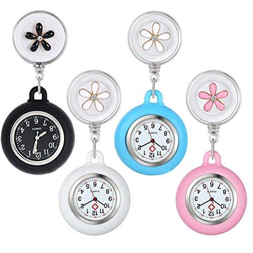 Enfermeras Relojes, 4 Piezas Reloj Enfermera Colgante, Reloj Fob Enfermeras, Relojes Silicona Enfermeras, Reloj Colgante Silicona, Relojes Cuarzo, Retráctil, Patrón Flores, para Personal Médico